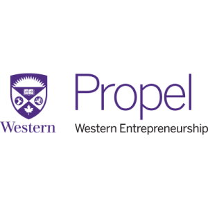 Logo featuring Western University's coat of arms and the words Propel Western Entrepreneurship in purple
