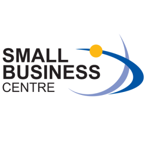 Small Business Centre logo with blue lines and a yellow dot