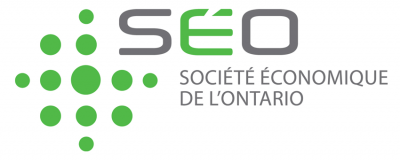 Societe Economique De L'Ontario Logo featuring green dots and SEO in green and grey