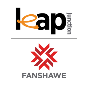 Fanshawe Leap Junction Logo with the words leap junction across the top and the red Fanshawe College logo underneath