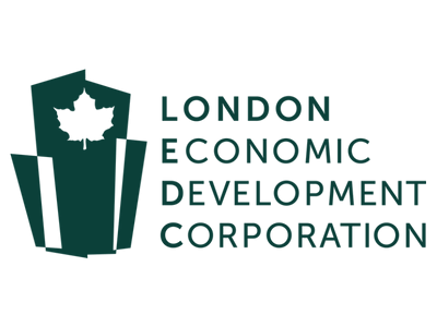 London Economic Development Corporation Logo featuring green overlapping buildings with maple leaf at the top