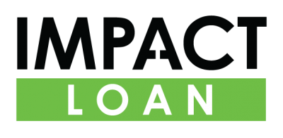 Impact Loan Logo with black lettering for impact and green and white lettering for loan.